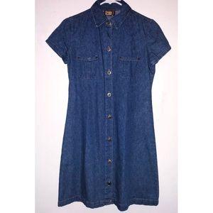Vintage Faded Glory Button Denim Dress Size Medium